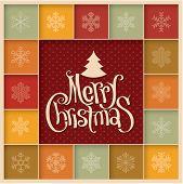 Minimalist design retro Christmas greeting card. Vector. poster