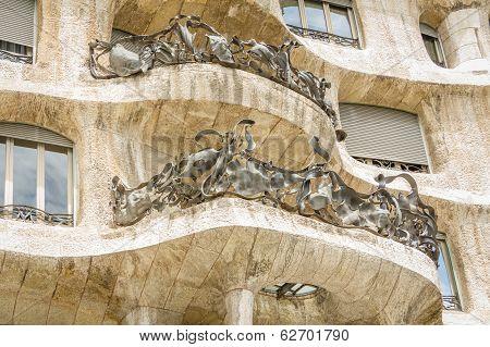 Architecture detail of Casa Mila or La Pedrera