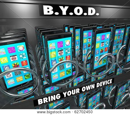 BYOD Acronym Bring Your Own Device Smart Phone Vending Machine