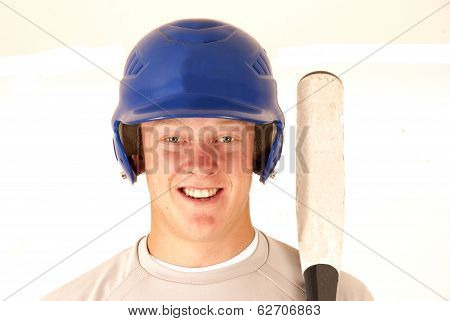 Baseball Player Portrait Smiling Holding Bat
