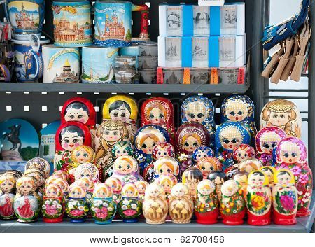 Russian Dolls At Street Stand, St. Petersburg