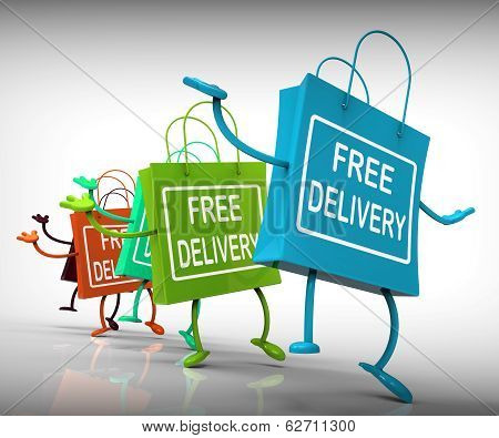Free Delivery Bags Show Promotion Of No Charge For Shipment