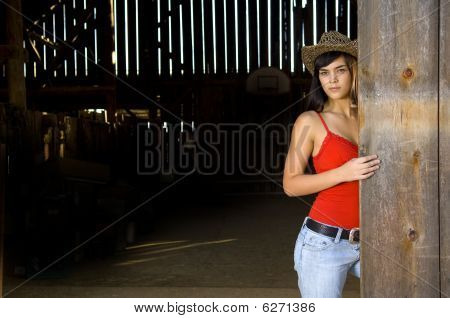 Cowgirl in barn doorway with hat and tank top poster