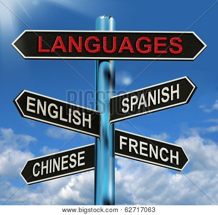 Languages Signpost Means English Chinese Spanish And French