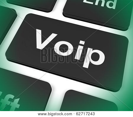Voip Key Means Voice Over Internet Protocol Or Broadband Telephony