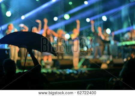 Defocused  rock concert lights