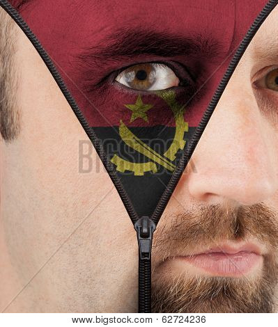 Unzipping Face To Flag Of Angola