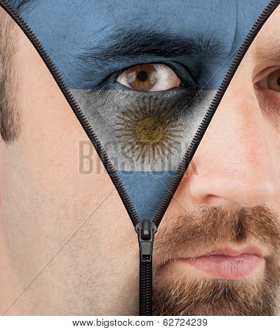 Unzipping Face To Flag Of Argentina