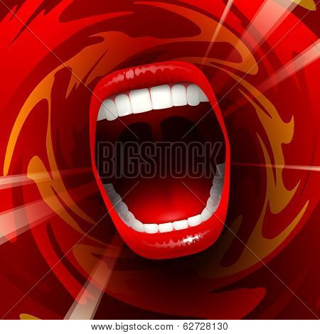 Open mouth with teeth; Screaming shouting singing yawning mouth; Jaw drop; Vector background Eps10; The angle is 10°