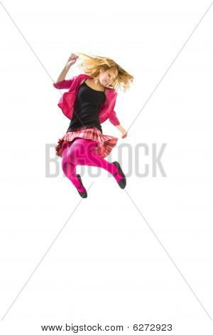 Jumping Teenager Girl