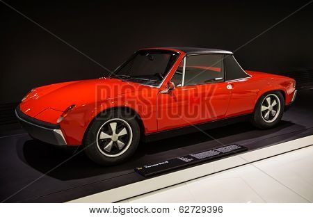 STUTTGART, GERMANY - CIRCA APRIL, 2014: Porsche Museum. PORSHE 914\8 (1969)