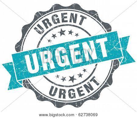 Urgent Turquoise Grunge Retro Style Isolated Seal
