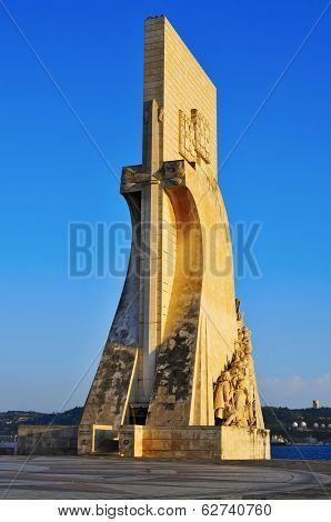 view of the Padrao dos Descobrimentos or Monument to the Discoveries in Lisbon, Portugal