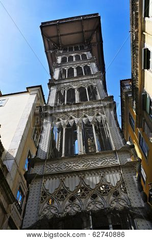 a view of historical Santa Justa Lift in Lisbon, Portugal