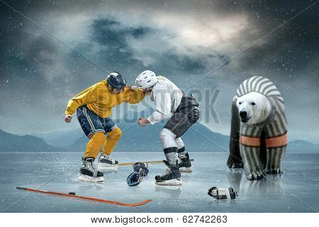Ice hockey players on the ice and polar bear poster