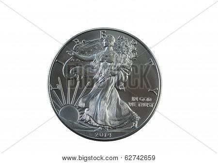 Uncirculated American Silver Eagle Dollar Coin Isolated On White