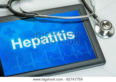 Tablet with the diagnosis hepatitis on the display