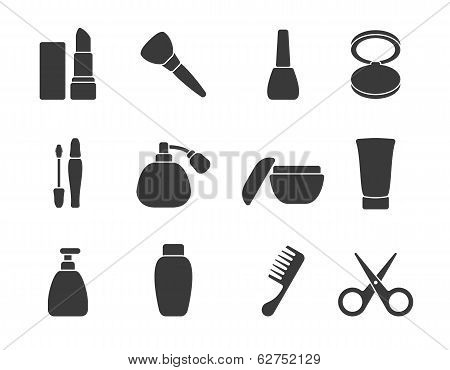 Flat vector make-up & hair accessory icons poster