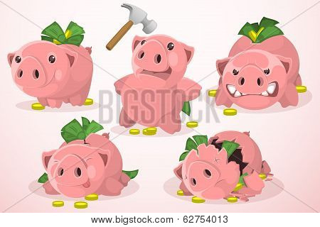 Set of piggy bank in different situations