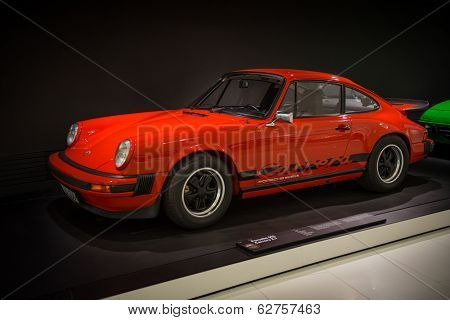 STUTTGART, GERMANY - APRIL, 2014: Porsche Museum. PORSHE 911 Carrera 2.7 (1975)