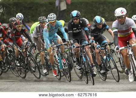 BARCELONA - MARCH, 30: Pack of the cyclists rides during the Tour of Catalonia cycling race through the streets of Monjuich mountain in Barcelona on March 30, 2014