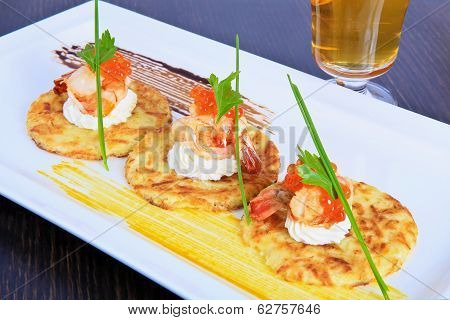 Pancakes With Shrimps And Caviar