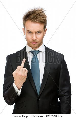 Half-length portrait of businessman showing obscene gesture, isolated on white. Concept of stress and aggression