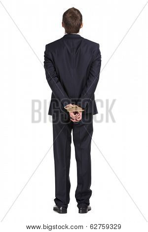 Full-length portrait of businessman with tied hands, isolated on white. Concept of slavery and hard work