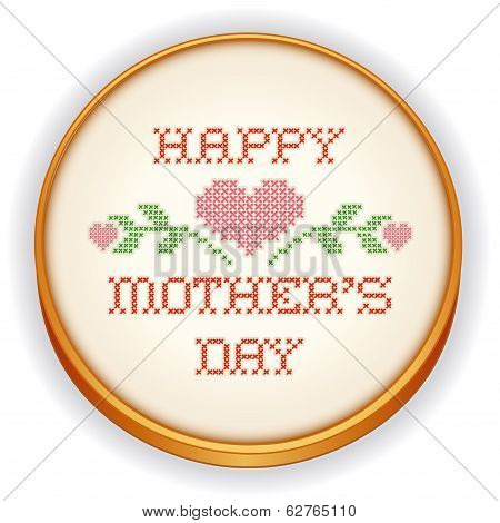 Mothers Day Embroidery, cross stitch on retro wood hoop