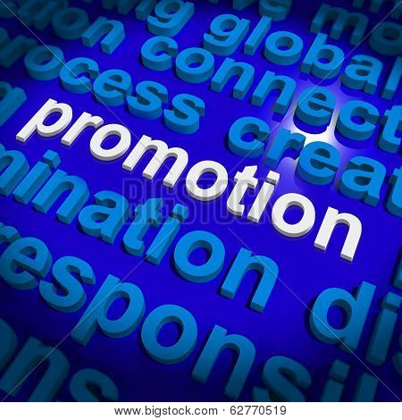 Promotion Word Cloud  Shows Discount Bargain Or Mark Down