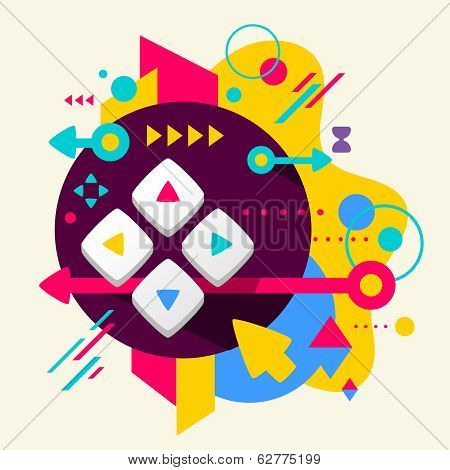 Joystick on abstract colorful spotted background with different elements. Flat design for the web print banner advertising. poster