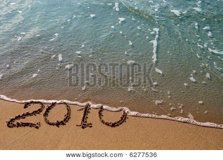2010 - The inscription on the sand, swept away by the azure sea