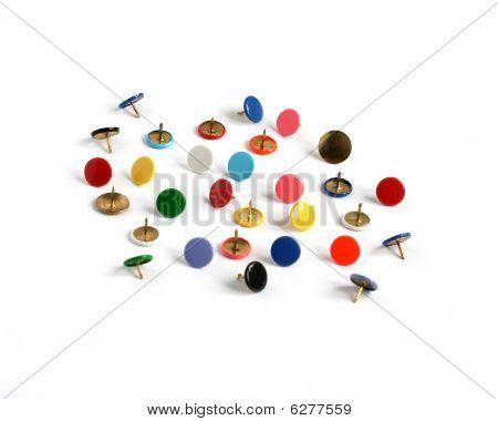 Drawing Pins Thumb Tacks In Many Colors