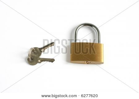 Locked Closed Padlock And Keys