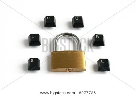 Secure Written With Keyboard Keys Around Padlock