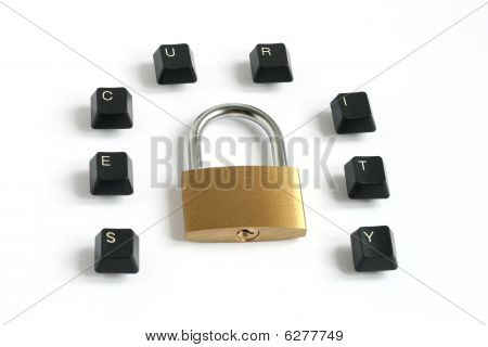 Security Written With Keyboard Keys Around Padlock