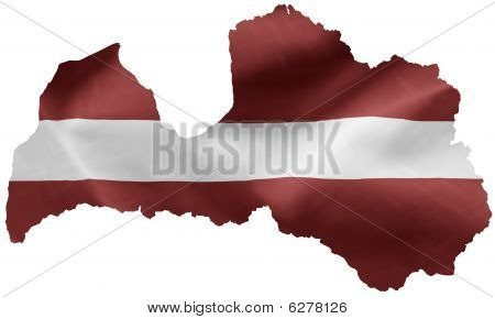 Latvian flag country outline