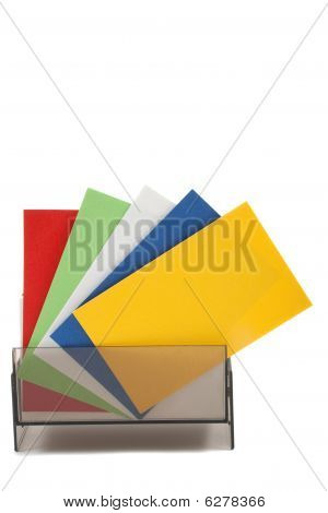 Blank Colorful Business Cards Spread Out
