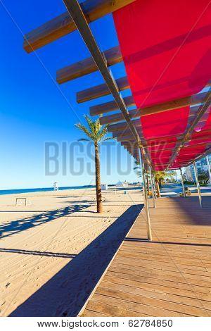 Gandia playa beach sunroof in Valencia at Mediterranean Spain