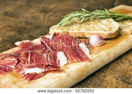 Spanish Ham With Toasts, Focus On Ham
