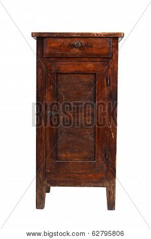 Old Shabby Cabinet Isolated On White