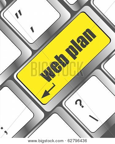 Web Plan Concept With Key On Computer Keyboard, Business Concept