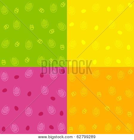 Set Of Easter Egg Seamless Patterns
