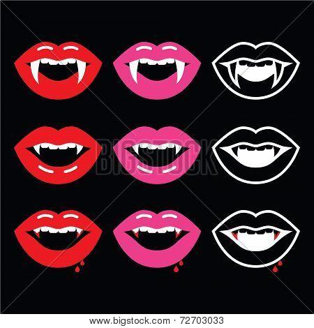 Vampire mouth, vampire teeth icons on black