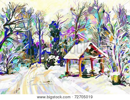 digital painting of winter landscape