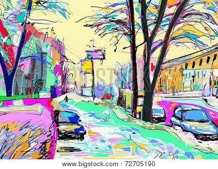 digital painting of winter landscape