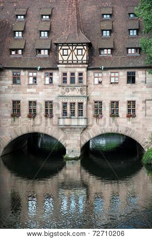 Hospital of the Holy Spirit (Heilig-Geist-Spital) in Nuremberg city Bavaria Germany. poster