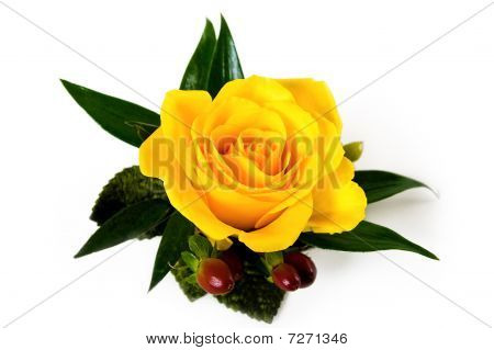 Yellow Rose Boutonniere With Autumn Accents