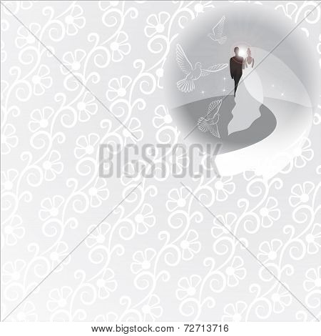 Gray background with bridegroom, bride, pigeons, sun and sunrise in round window