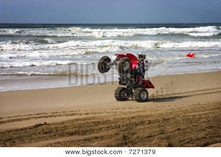 Atv Rider Wheelie On Beach